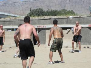 Army enjoying the sun and volleyball