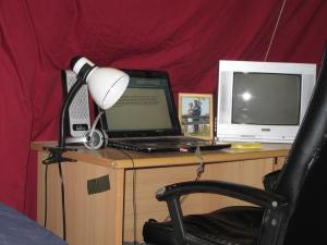 """My desk and my """"privacy sheet"""""""