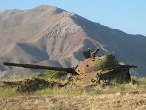 Abandoned Soviet tank from circa 1988