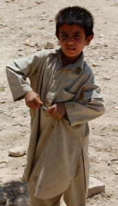Afghan boy with his donated ballpoint pen