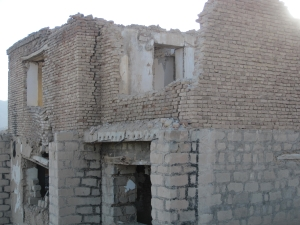 Bombed out building destroyed by Taliban