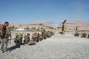 Chinook helo transporting ANA soldiers to remote polling area