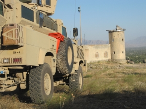 MRAP overlooking destroyed mosque