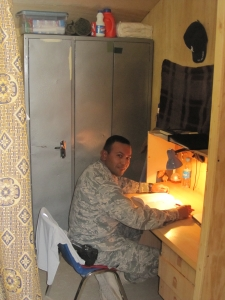 AF Captain in his wood cubicle