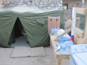 Hygiene center and shower tent.