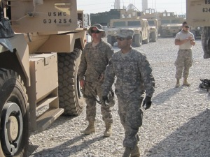 My MRAP teammates, AF Capt as driver and AF SSgt as gunner.
