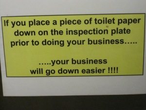 """Motivational"" toilet sign at BAF"