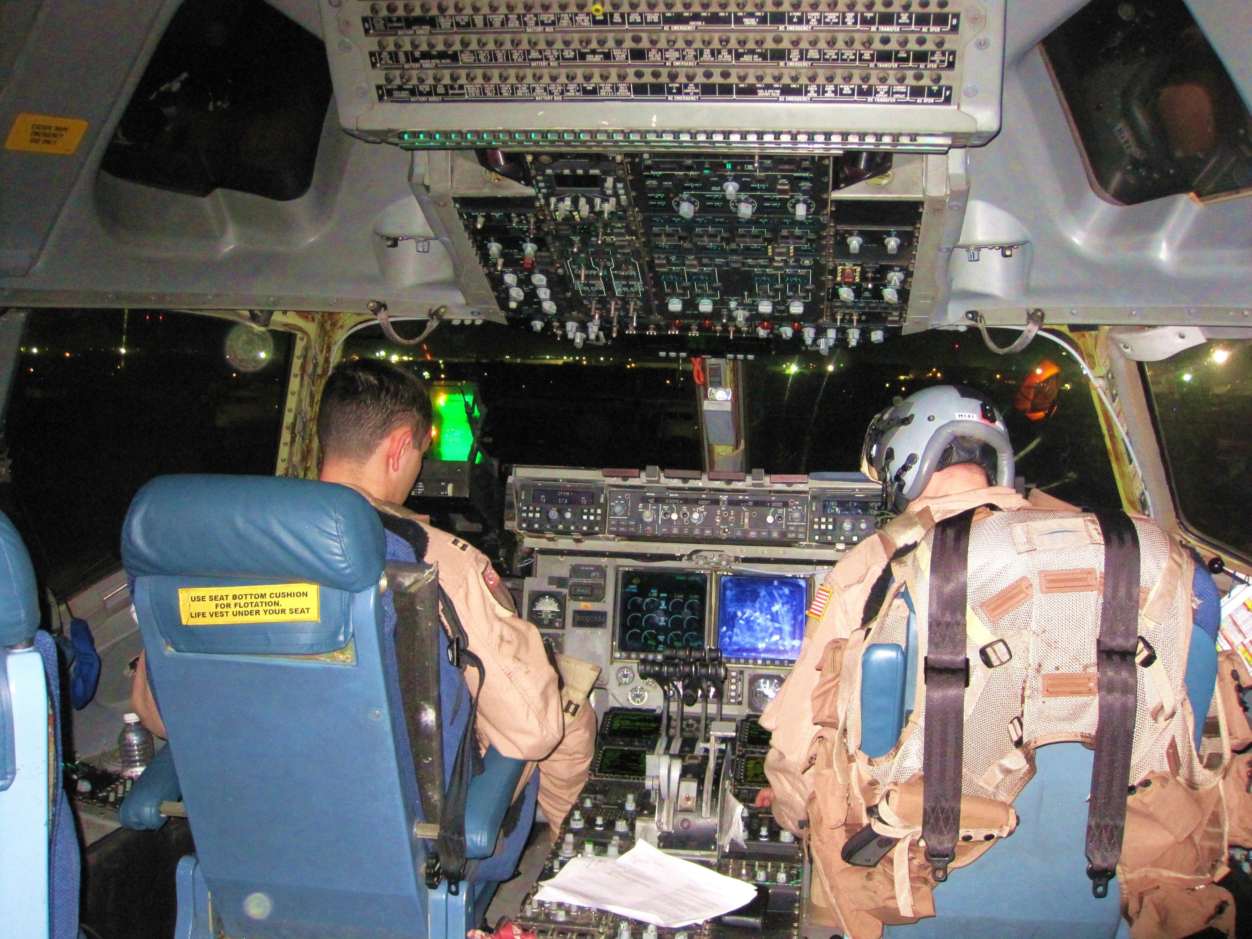 Leaving Kuwait  C 17 Cockpit